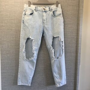 Forever 21 Distressed High Rise Light Wash Jeans27